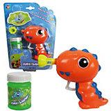 """Мыльные пузыри 1Toy """"Мы-шарики!"""" Пистолет механический в виде динозаврика, оранжевый, 50 мл"""