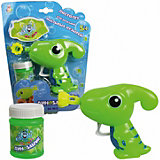 """Мыльные пузыри 1Toy """"Мы-шарики!"""" Пистолет механический в виде динозаврика, зеленый, 50 мл"""