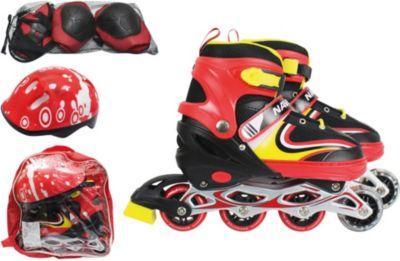 Роликовые коньки с защитой и шлемом 1Toy, красные