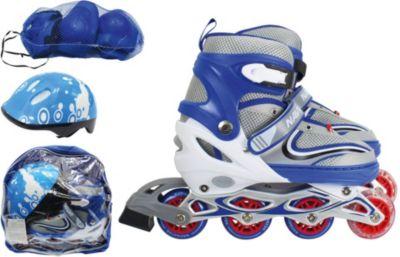 Роликовые коньки с защитой и шлемом 1Toy, синие