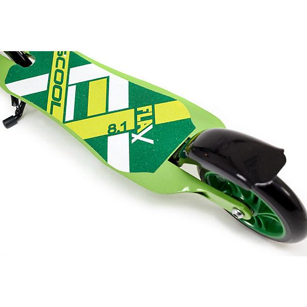 Двухколёсный самокат Scool Flax 8.1, зелёно-жёлтый