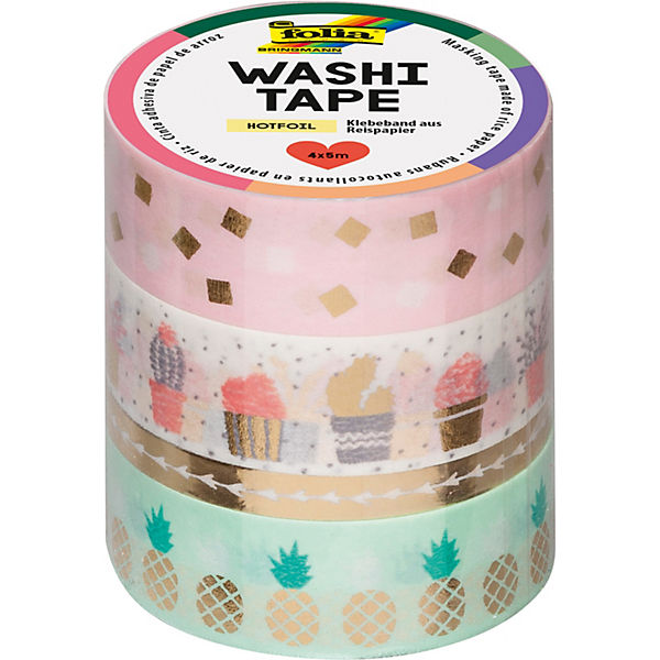 Washi-Tape 4er Set Gold, 4 x 5 m