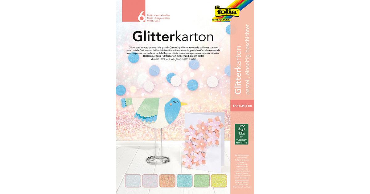 Glitterkarton-Block Pastell, 6 Blatt 17,4 x 24,5 cm