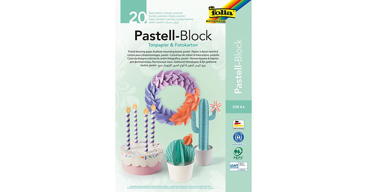 Tonpapier und Fotokarton Block Pastellfarben A4, 20 Blatt in 15 Farben