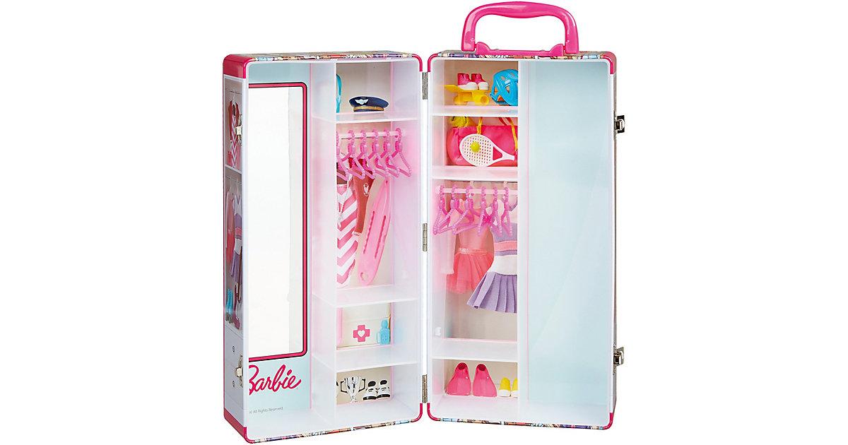 Theo Klein 5801 Barbie Schrankkoffer Kinder mit Kleiderstangen und Fächern, Spielzeug Kinder ab 3 Jahren, inkl. Zubehör  Kleinkinder