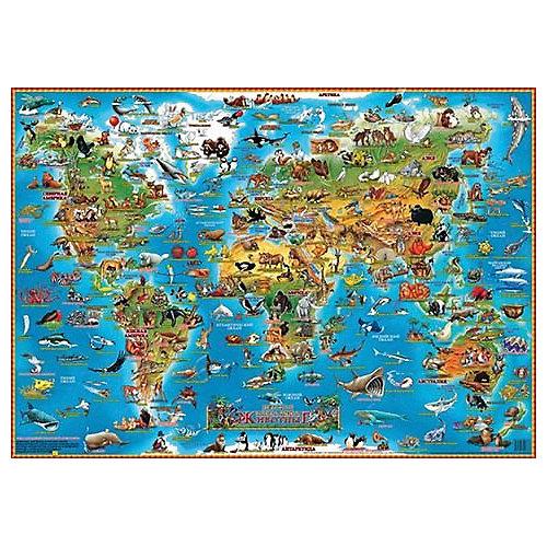 """Детская карта мира """"Животные"""", настольная от АГТ Геоцентр"""