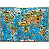 """Детская карта мира """"Животные"""", настольная"""
