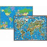 Детская двусторонняя карта мира, настольная