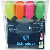 Набор текстовыделителей Schneider Novus Job, 4 цвета, прозрачный чехол