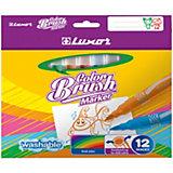 Фломастеры с кистевым пишущим узлом Luxor Color Brush, 12 цветов, смываемые