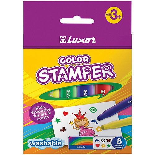 Фломастеры-штампы Luxor Color Stamper, 8 цветов, смываемые от Luxor