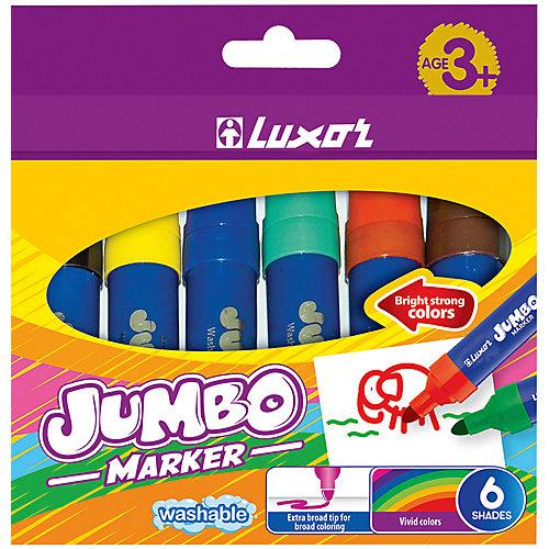Фломастеры Luxor Jumbo, 6 цветов, утолщенные, смываемые от Luxor