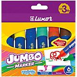 Фломастеры Luxor Jumbo, 6 цветов, утолщенные, смываемые
