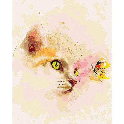 Набор для раскрашивания по номерам Артвентура «Котенок и бабочка» от Артвентура