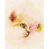 Набор для раскрашивания по номерам Артвентура «Котенок и бабочка»