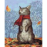 Набор для раскрашивания по номерам Артвентура «Кот в шарфе»