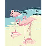Набор для раскрашивания по номерам Артвентура «Три фламинго»