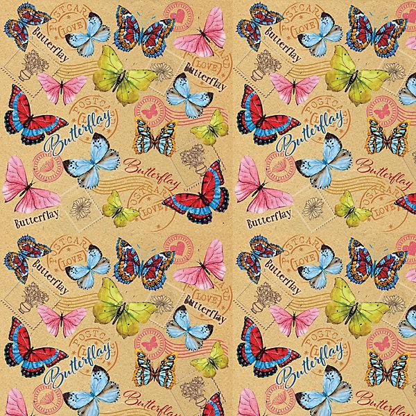 """Упаковочная бумага крафт Феникс-Презент """"Тропические бабочки"""""""