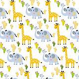 """Упаковочная бумага Феникс-Презент """"Жираф и слон"""""""