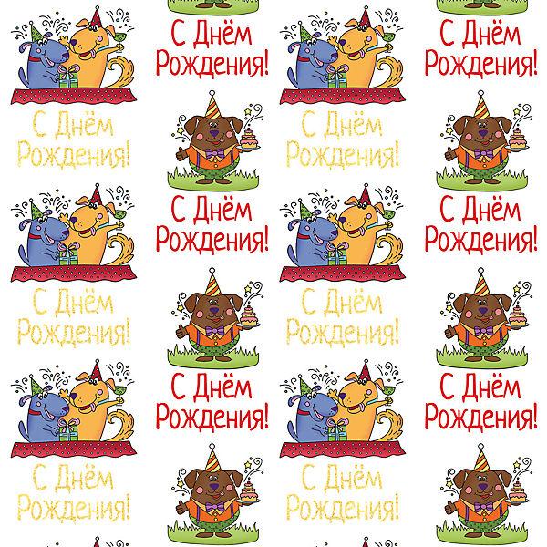 """Упаковочная бумага Феникс-Презент """"Медведь и собаки-поздравляки"""""""