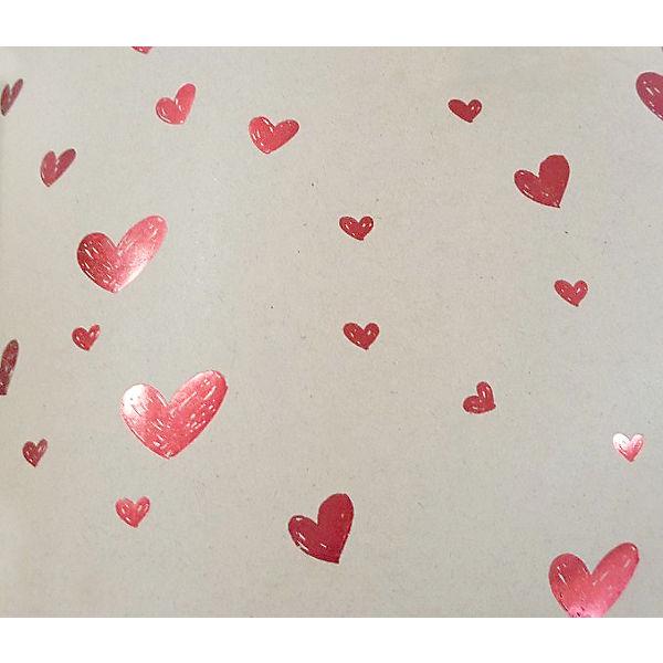 """Упаковочная бумага крафт Феникс-Презент """"Красные сердца маленькие"""""""