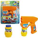 Пистолет с мыльными пузырями 1Toy, свет и звук, 2х59 мл, оранжевый