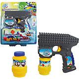 Пистолет с мыльными пузырями 1Toy, свет и звук, 2х59 мл, серый