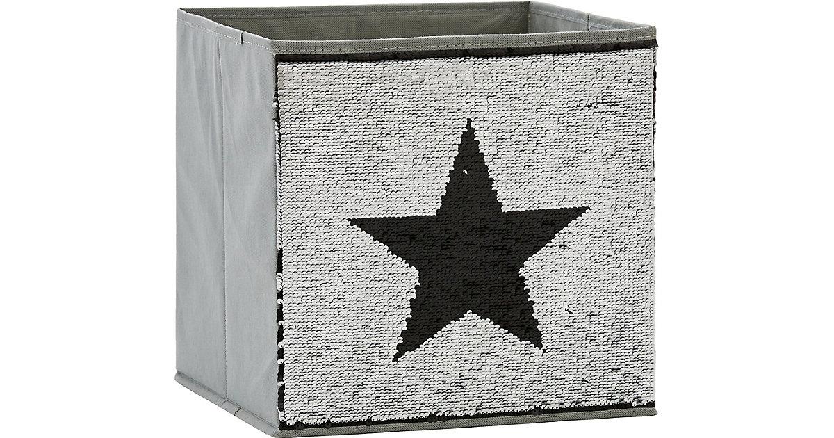 Image of Aufbewahrungsbox Pailletten Stern, schwarz/silber