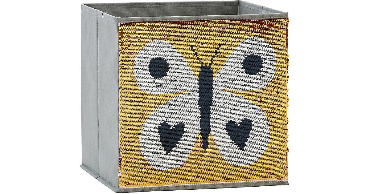 Image of Aufbewahrungsbox Pailletten Schmetterling, rosa/gold