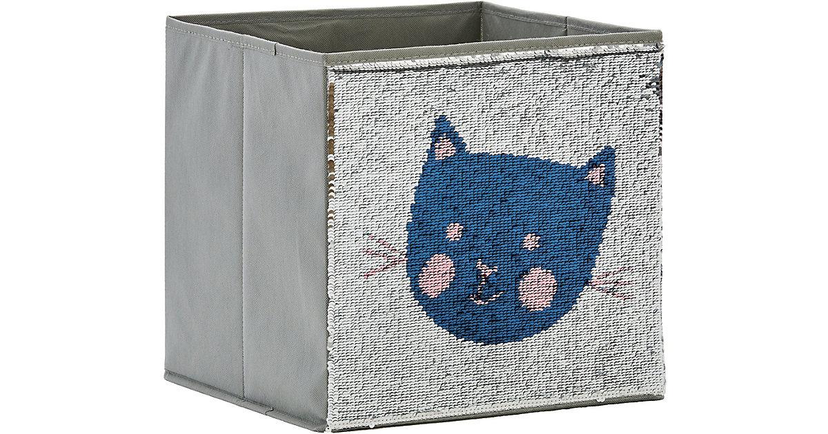 Image of Aufbewahrungsbox Pailletten Katze, rosa/blau