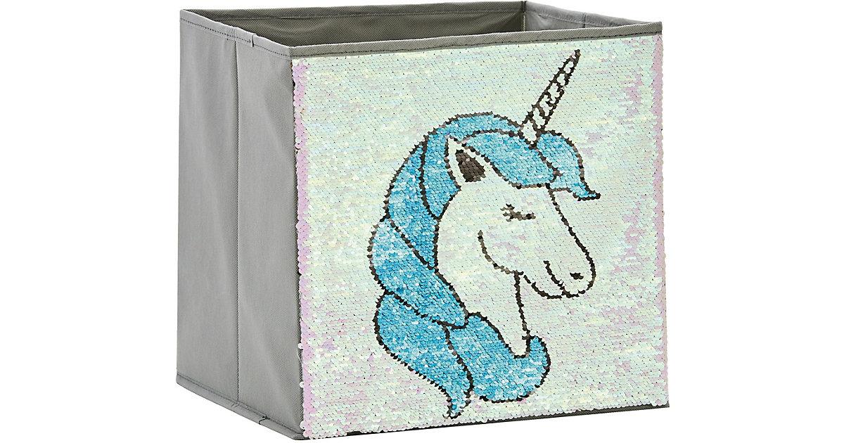 Image of Aufbewahrungsbox Pailletten Einhorn, rosa/blau