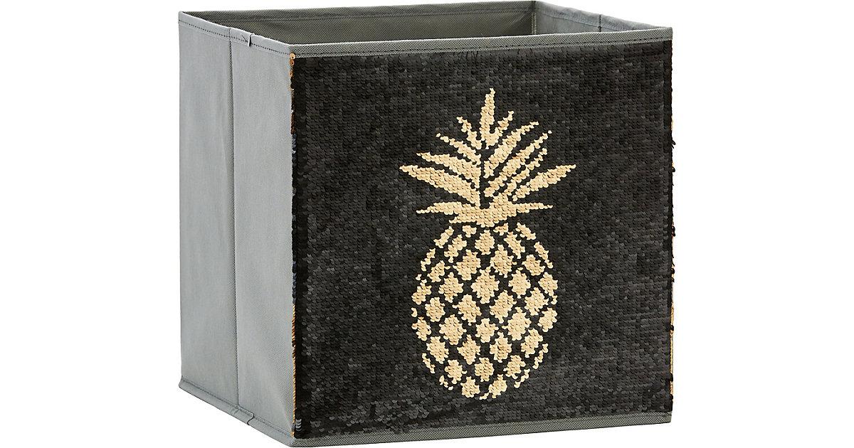 Image of Aufbewahrungsbox Pailletten Ananas, schwarz/gold