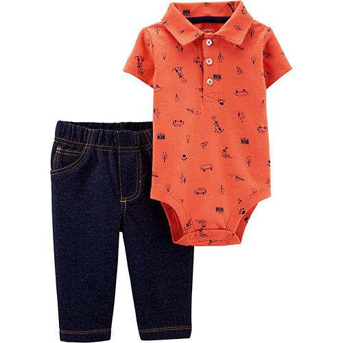 Комплект: боди и брюки carter's для мальчика - оранжевый от carter`s