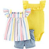 Комплект: блузка, боди и шорты carter's для девочки