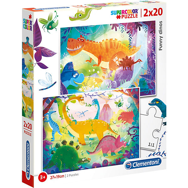 Puzzle 2x20 Teile - Funny Dinos