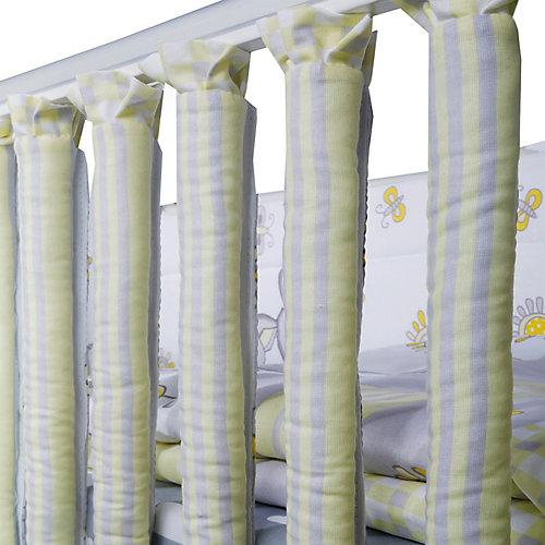 """Комплект в кроватку Эдельвейс """"Лето"""", 6 предметов, бортик-фенсы, желтый - желтый/серый от Эдельвейс"""