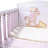 """Комплект в кроватку Эдельвейс """"Моя лошадка"""", 6 предметов, бортик-фенсы, розовый"""