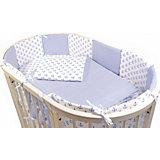"""Комплект в кроватку Эдельвейс """"Кубики"""", 6 предметов, голубой"""