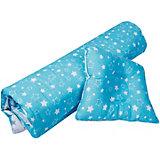 """Одеяло и фигурная подушка """"Эдельвейс"""", 110х120 см, бирюзовый/серый"""