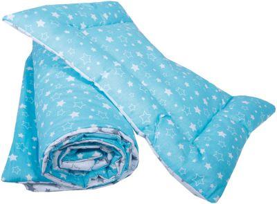"""Одеяло и подушка """"Эдельвейс"""", 110х140 см, 40х60 см, бирюзовый/серый"""