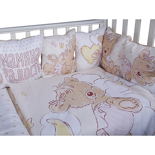 """Комплект в кроватку Эдельвейс """"Мой медвежонок"""", 6 предметов - розовый от Эдельвейс"""
