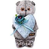 Мягкая игрушка Budi Basa Кот Басик с сердцем из бархата, 25 см