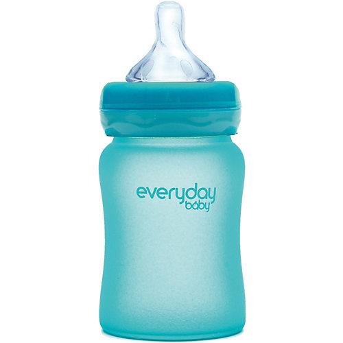 Стеклянная бутылочка с индикатором температуры EveryDay Baby 150 мл, бирюзовая от everyday baby