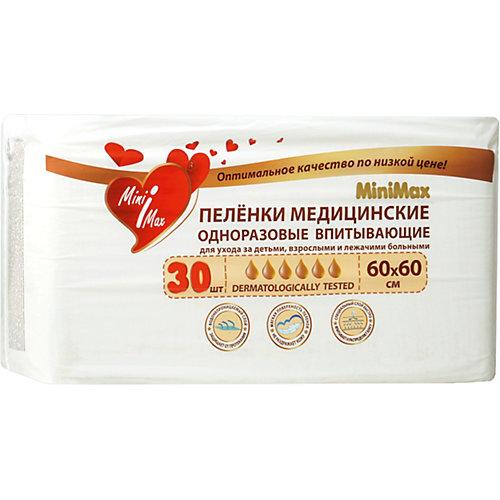 Детские одноразовые пеленки MiniMax 60x60 см, 30 штук от MiniMax
