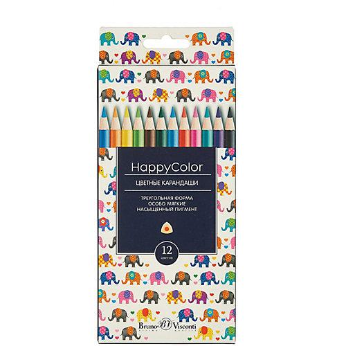 Карандаши цветные HappyColor BrunoVisconti, 12 цветов от Bruno Visconti