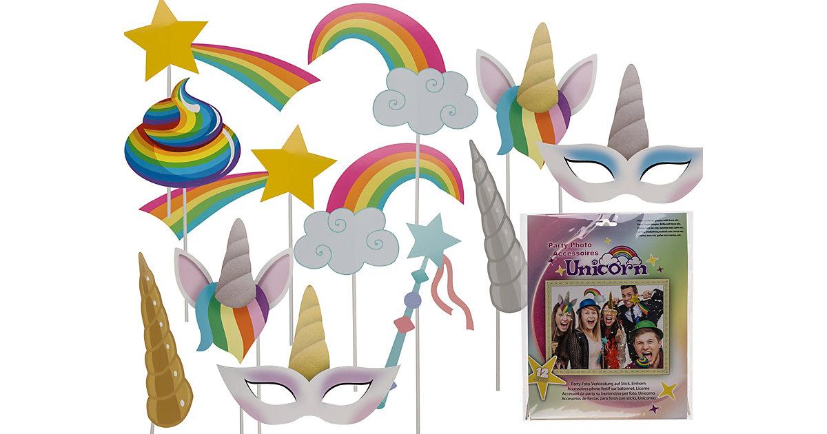 """12-tlg. Set Party-Foto-Verkleidung auf Stick """"Einhorn Regenbogen """" bunt"""