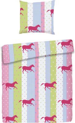 Kinderbettwäsche Pferde, Biber, rosa, 135 x 200cm, Powerkids