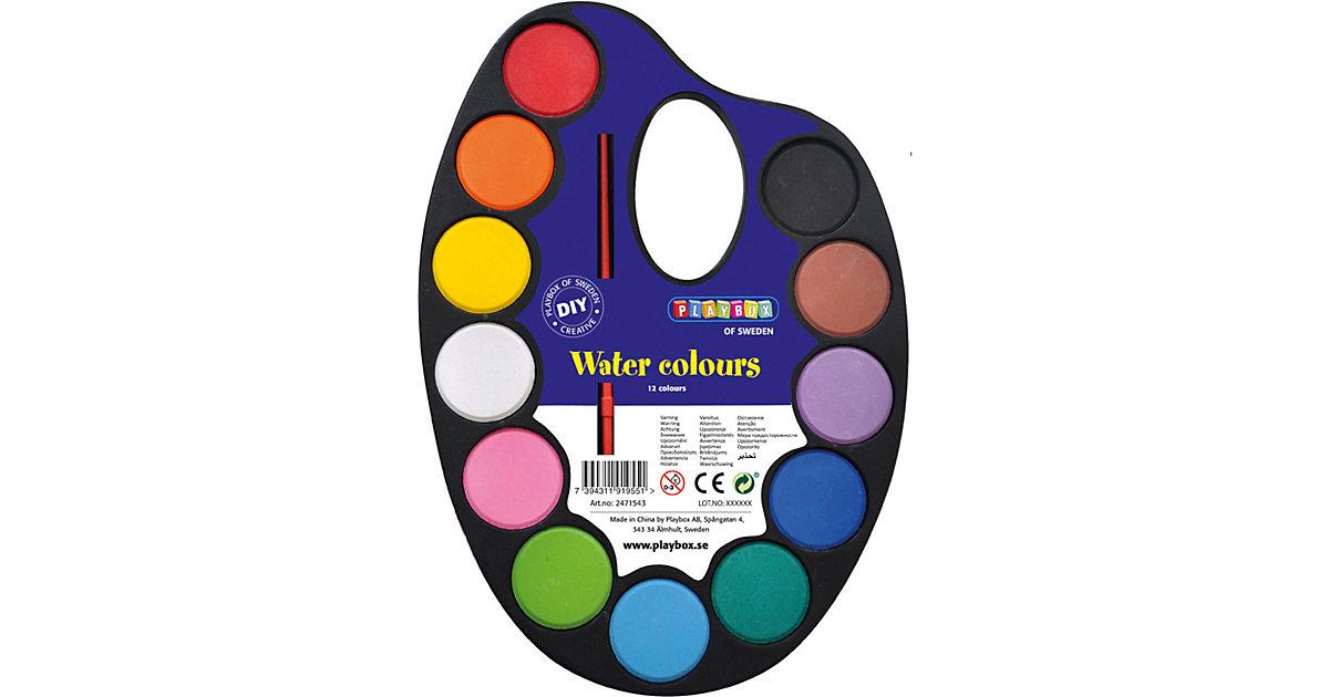 Palette mit Wasserfarben, 12 Farben