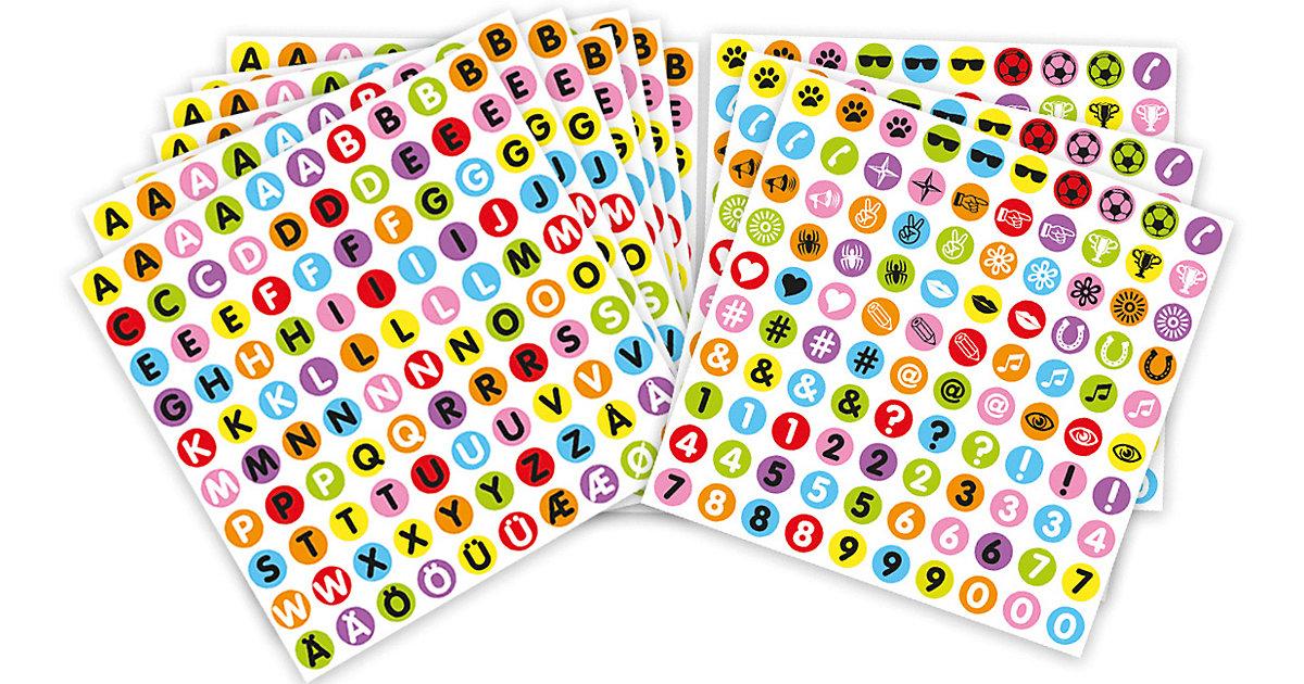 Buchstaben, Zahlen & Symbole10 Bogen Sticker, 1.000 Sticker