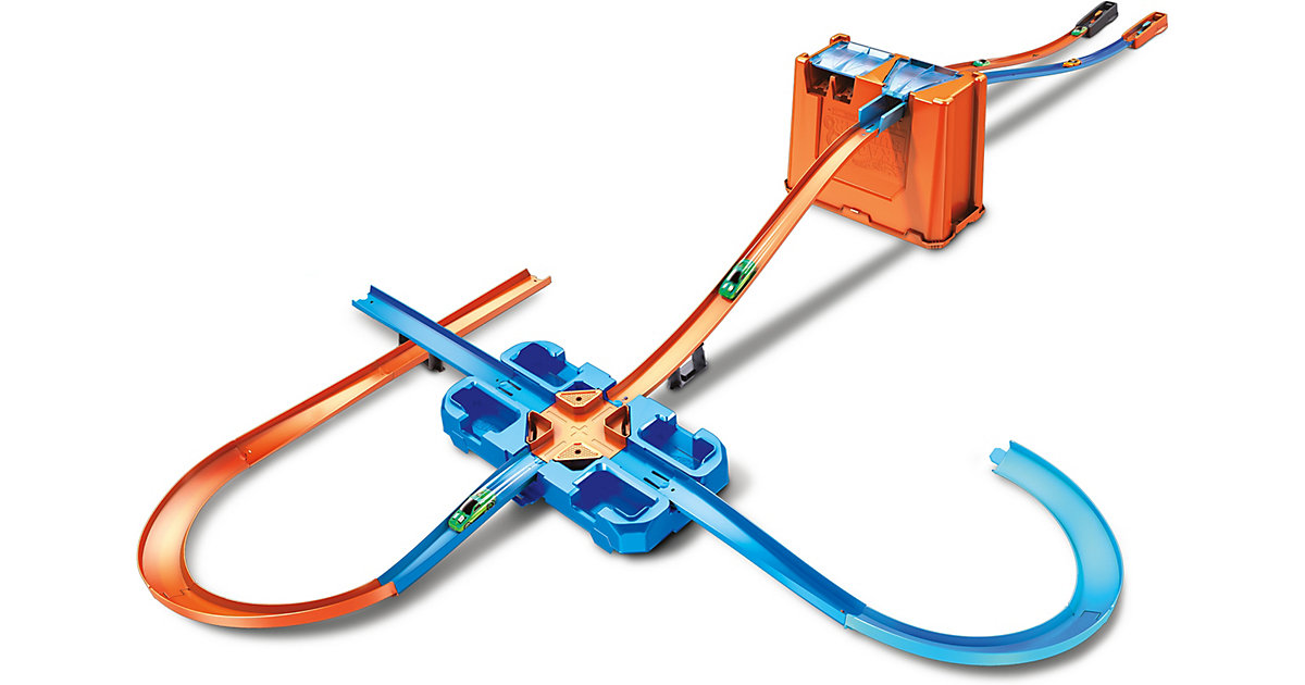 Hot Wheels Track Builder Unlimited Mega Stunt Box, Autorennbahn inkl. 2 Spielzeugautos